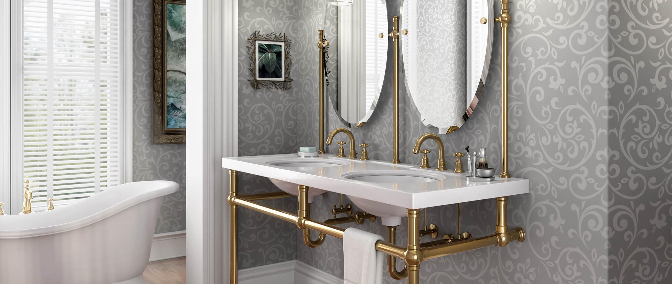 Custom Sink Leg Solutions Palmer Industries Bathroom Parts Diagram Plumbing Installation Diagrams R Bun Foot Style Brass Legs With Mirrors