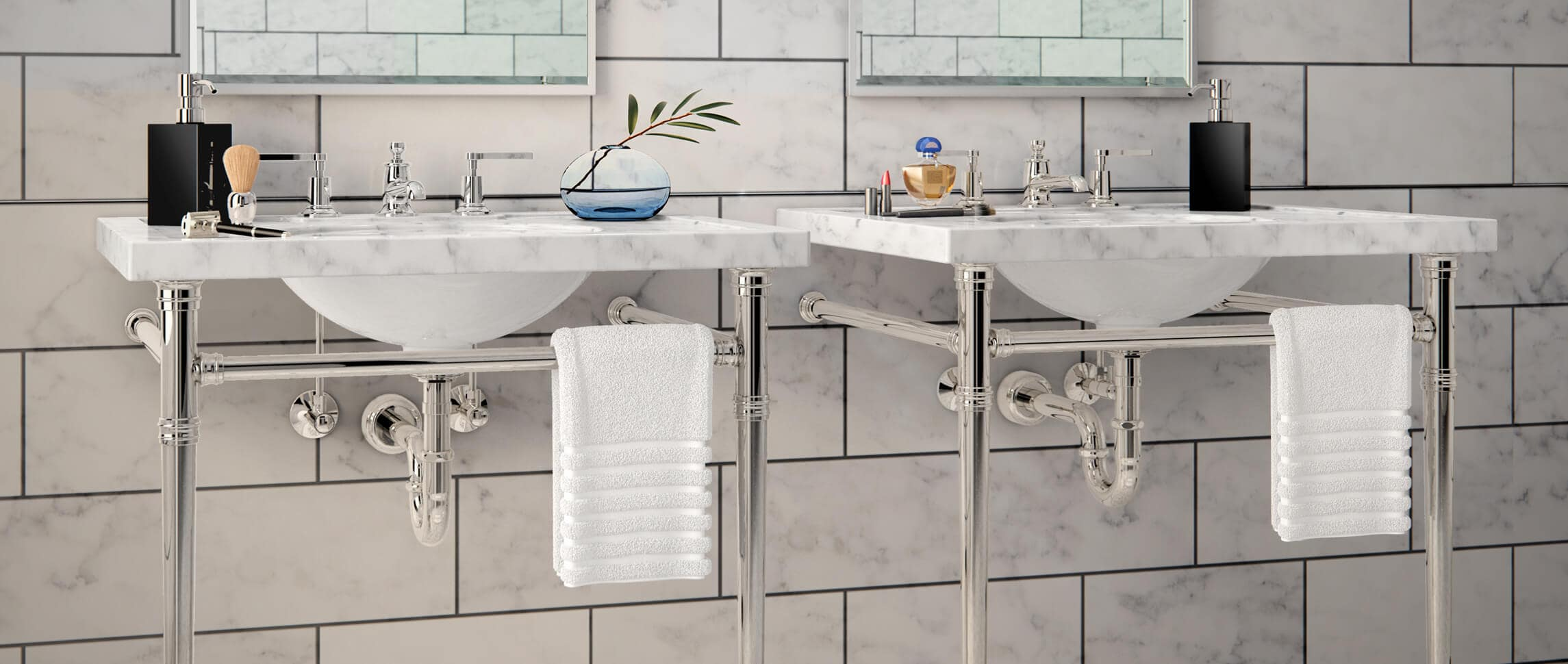 Es Style Featuring Tapered Chrome Vanity Legs