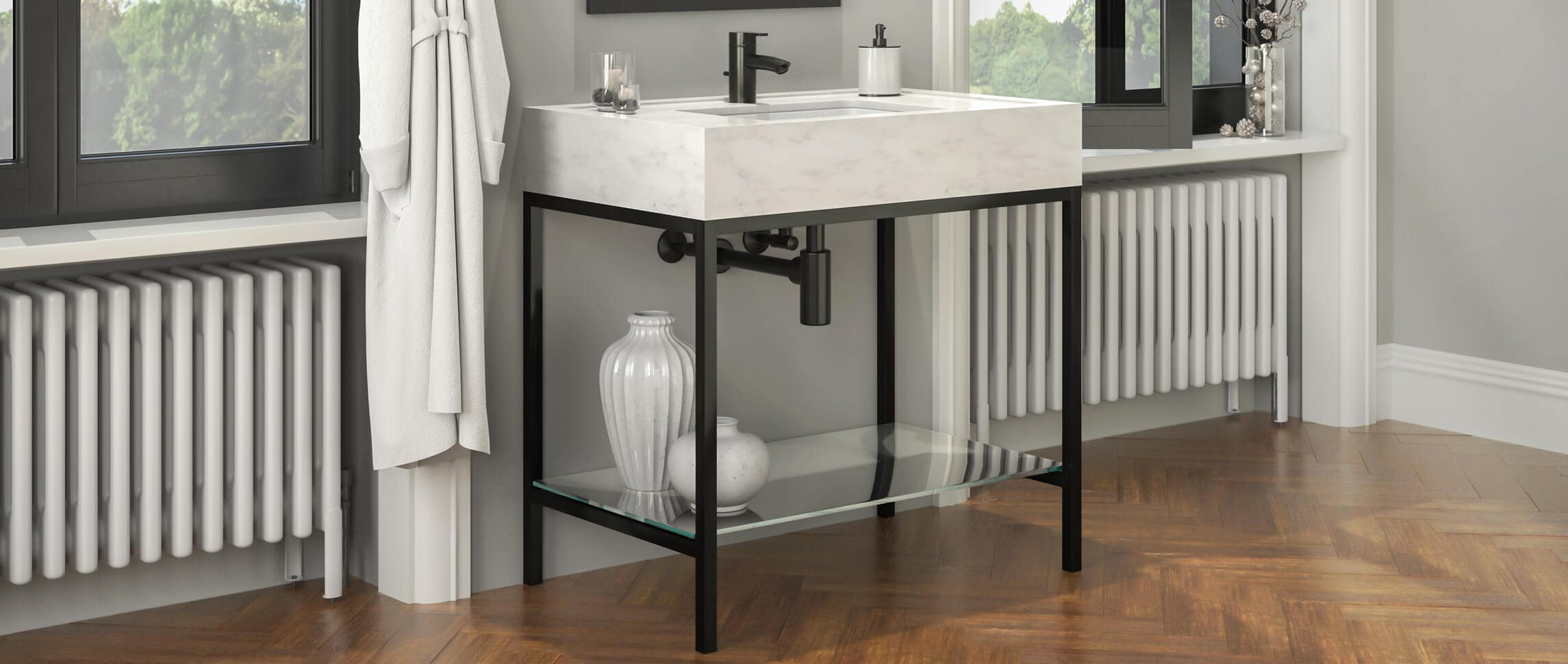 Faszinierend Industrie Style Foto Von Palmer Tries Linear Metal Washstand Vanity Finished