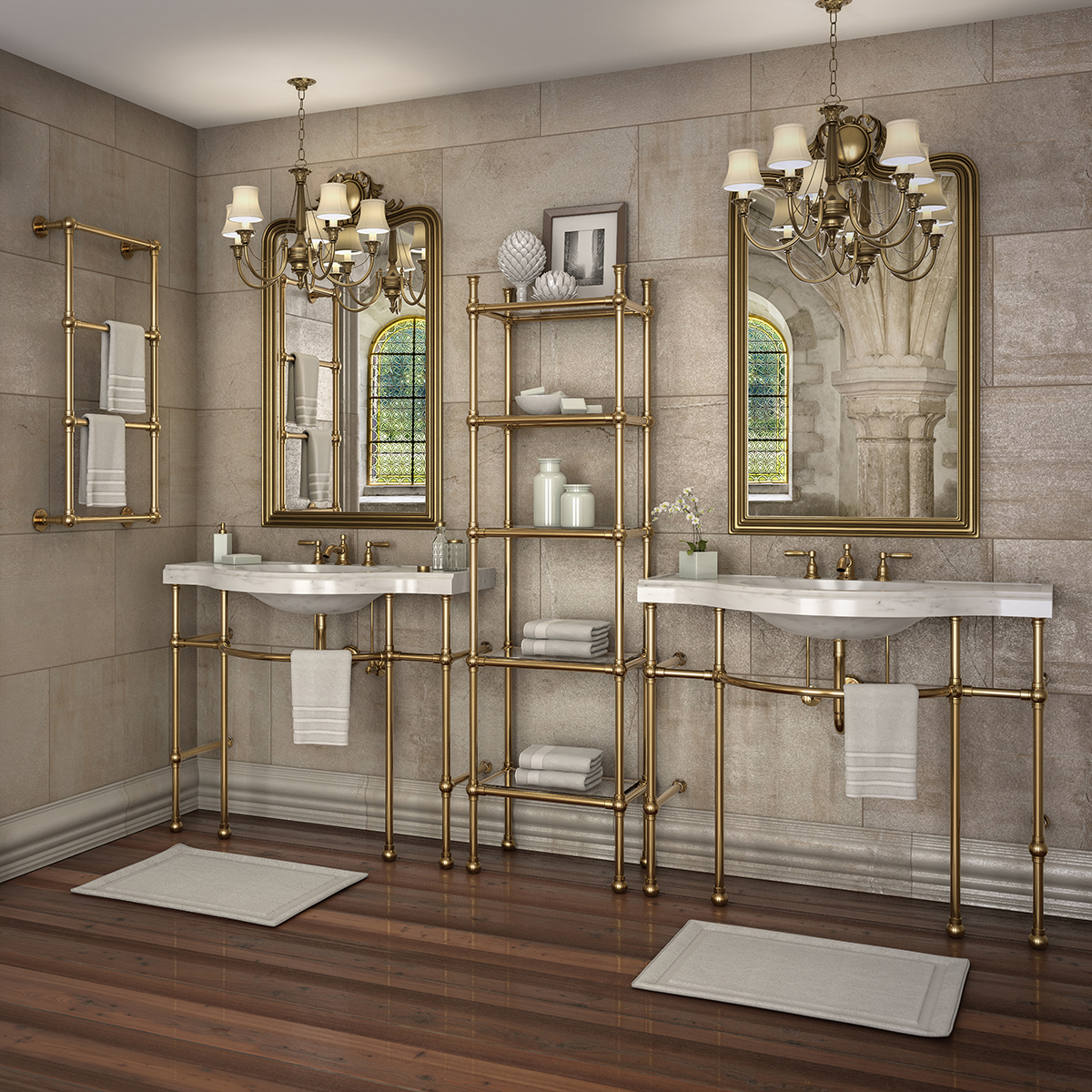 Renaissance Style Vanities With Matching Etagere And Wall Mounted Towel Rack