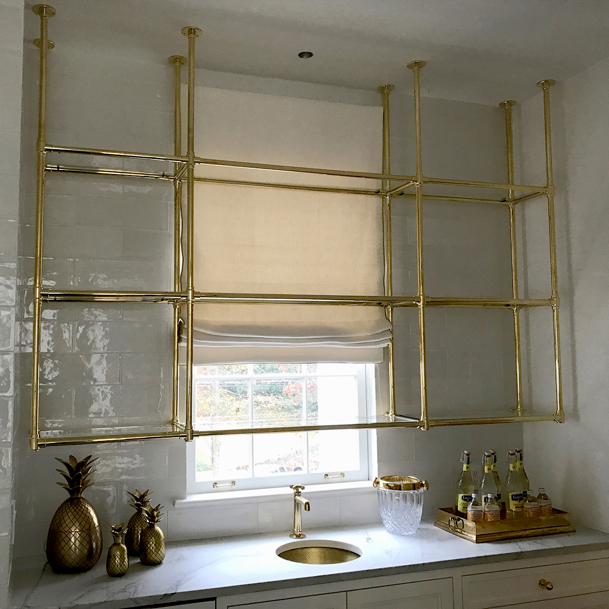 Beau Custom Brass And Glass Kitchen Shelving  Karpaty Cabinets, Inc. GA