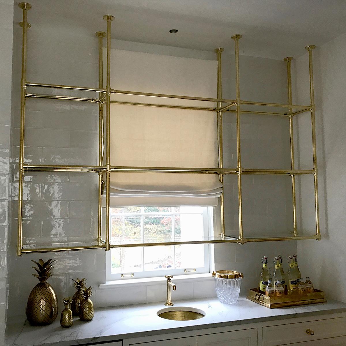 Custom brass and glass kitchen shelving- Karpaty Cabinets, Inc. GA ...